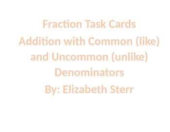 Addition Fraction Task Cards