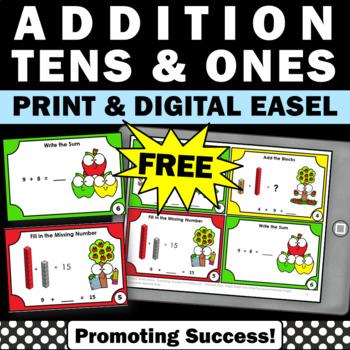 FREE Math Addition Facts Task Cards MAB Kindergarten Math