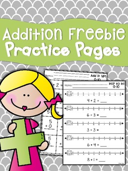 Addition Freebie Practice Sheets