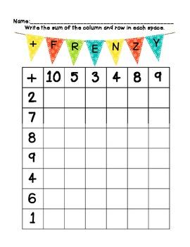 Addition Frenzy...A Fluency Game