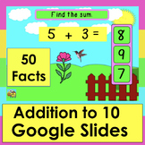 Addition GAME for GOOGLE SLIDES 50 Spring Facts to 10 Self-Checking PDF w/Link