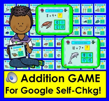 Addition GAME for GOOGLE SLIDES:  Facts From 11-20: Self-Checking WITH SOUND PDF