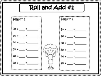 100th Day of School: Addition Game: Make 100/Roll The Dice and Add