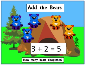 Addition Game - Add the Bears - Whole Class Early Addition Game