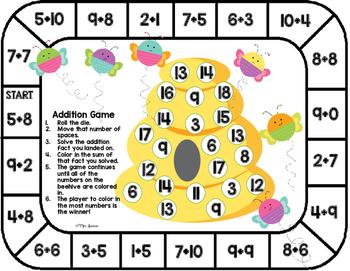 Addition Game Board