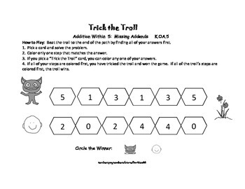Addition Game Center: Addition to 5: Sums and Missing Addends: 2 Games