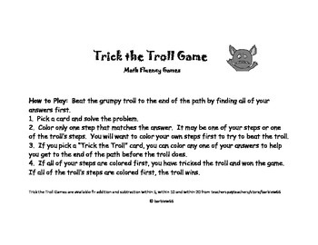 Math Fluency Game: Addition to 10: Find the Sum: Trick the Troll