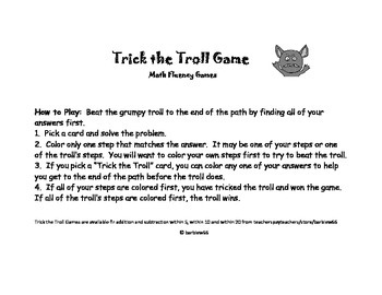 Addition Game Center: Addition to 20: Find the Sum: Trick the Troll