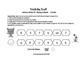 Addition Game Center: Addition to 20: Missing Addends: Trick the Troll