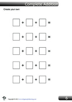 Addition Game - Complete Addition