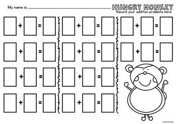 Addition Game - Hungry Monkey - Math Center for Counting On