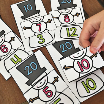 Winter Addition Game - Make 10 and 20 Snowmen