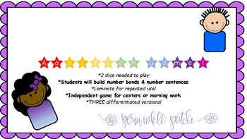 Addition Game: Number Bond & Number Sentence *3 differentiated versions!