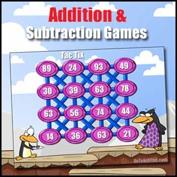 Addition Game & Subtraction Game - Math Fact Fluency Builder - Tac Tix