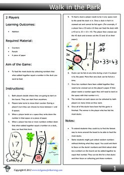 Addition Game - Walk in the Park
