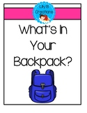 Addition Game - What's In Your Backpack?