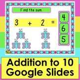 Addition Game for Google Slides: Self-Checking Facts to 10