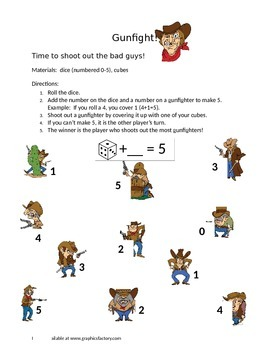 Gunfight Addition Game for Parts of 5