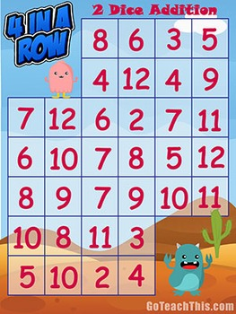 Addition Game - Subtraction Game: Four in a Row - Math Center Game