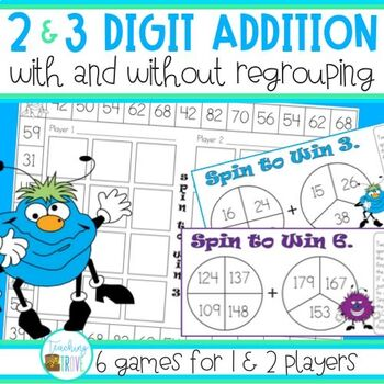 Two and Three Digit Addition with and without regrouping