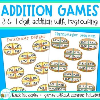 math worksheet : three and four digit numbers with regrouping by teaching trove  tpt : 3 Digit Addition Games