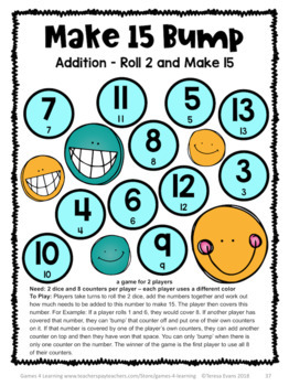 Addition Bump Games: 35 Addition Games for Addition Facts Fluency