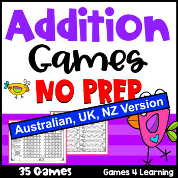 Addition Games NO PREP Math Games for Addition Facts [Aust