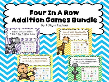 Addition Games Bundle (Zoo Theme Four In A Row)