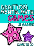 Addition Games | Mental Math Addition -Sums to 20 Games |