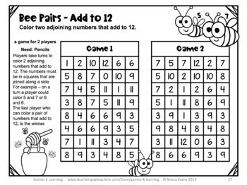 Addition Games NO PREP Math Games for Addition Facts