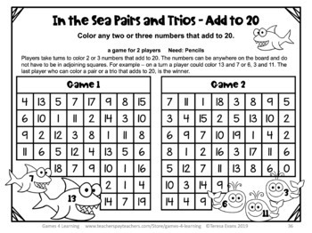 Addition Games NO PREP Math Games for Addition Facts Fluency