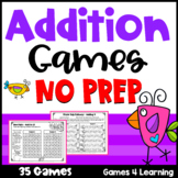 Addition Games for Fact Fluency Addition to 20: NO PREP Math Games