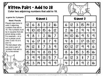 Addition Games and Activities for Addition Facts Bundle