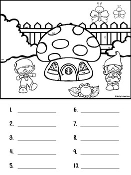 Addition Gnome Garden Sums To 10 (Tiny Little Sight Word Page Included)