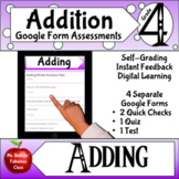 Addition Google Form Assessments 4th grade Math Distance Learning