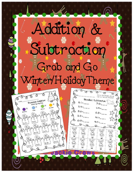 Addition & Subtraction: Common Core Grab and Go Winter/Hol