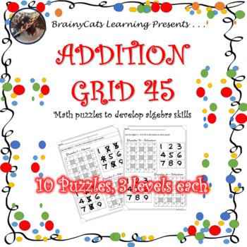 Addition Grid 45:  Math Puzzles to Develop Algebraic Thinking