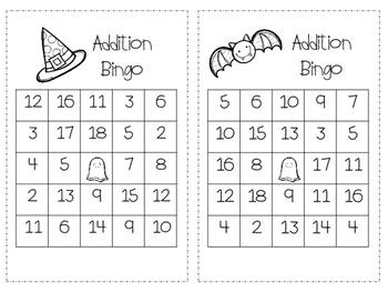 Addition Halloween Bingo