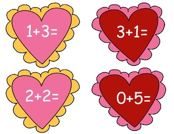 Addition Hearts Sums to 10 for Write the Room