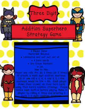 Addition Hero Game! 4 CCSS strategies, differentiated, great for centers!
