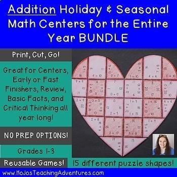 Addition Holiday & Seasonal Math Centers for the Entire Year BUNDLE