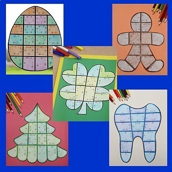 Addition Holiday & Seasonal Math Centers with End of the Year Math Activities