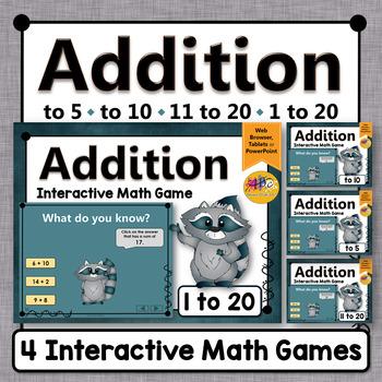 Addition Interactive Math Games {Dancing Raccoon} Bundle
