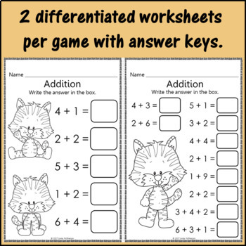 Interactive Math Games Addition Bundle {Dancing Tiger}
