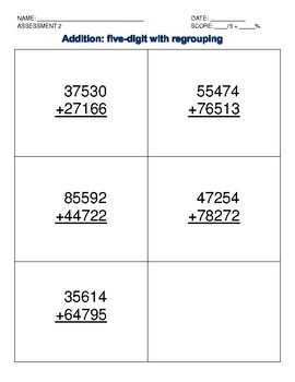 Addition Intervention: Five-digit with regrouping data collection