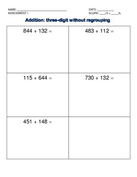 Addition Intervention: Three-digit without regrouping data collection