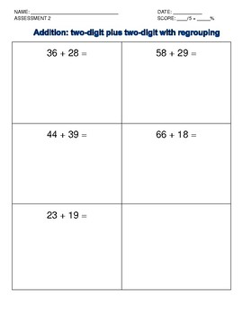 Addition Intervention: Two-digit with regrouping data collection