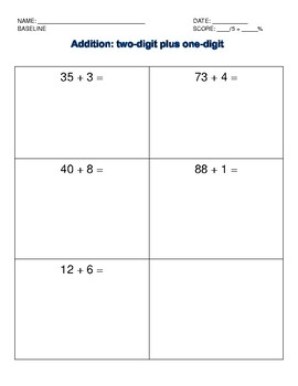 Addition Intervention: Two-digit and one-digit data collection sheet