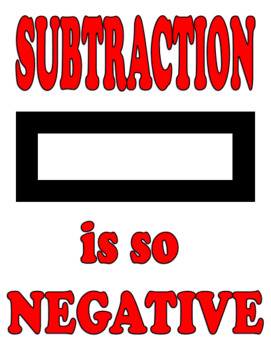 Addition Is Positive, Subtraction is Negative