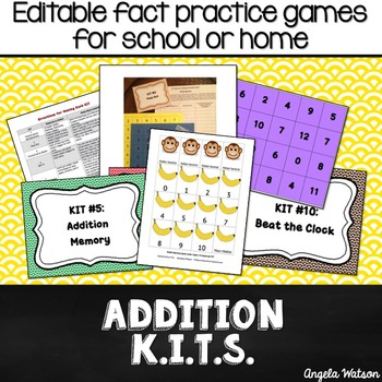Addition KITs: Editable math games for school or home